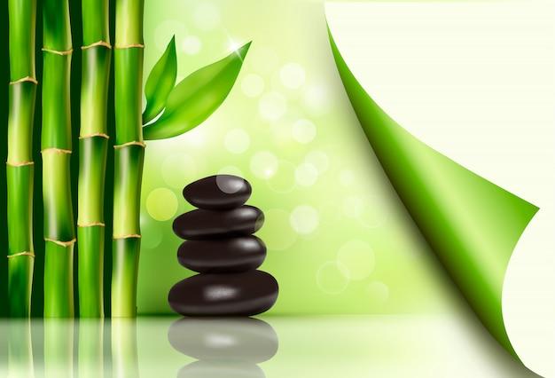 Fondo de spa con bambú y piedras. ilustración vectorial