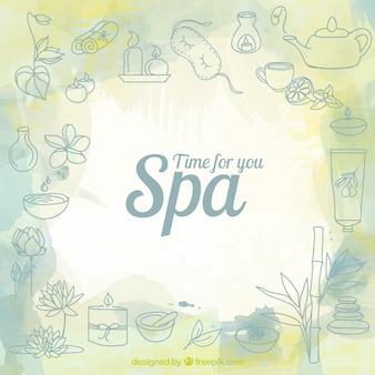 Fondo de spa con bocetos de productos de belleza