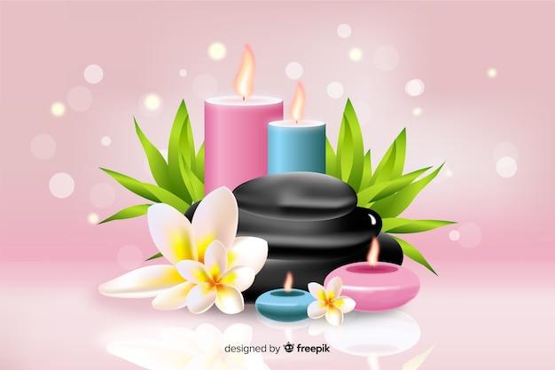 Fondo de spa realista con velas sobre fondo rosa