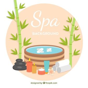 Fondo de spa con velas y aceites aromáticos