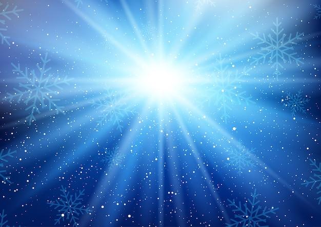 Fondo de starburst de invierno con copos de nieve cayendo
