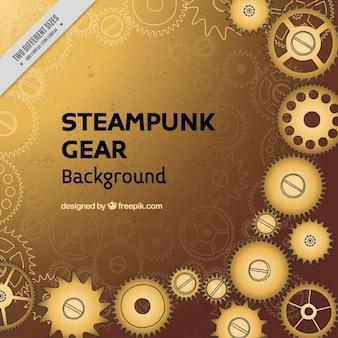 Fondo de steampunk con engranajes dorados