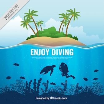 Fondo de submarinismo e isla