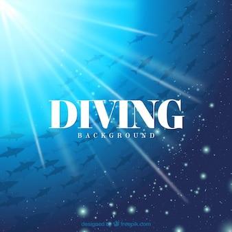 Fondo de submarinismo con peces y destello