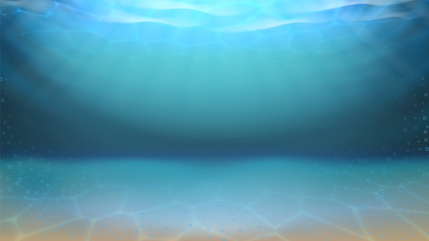 Fondo submarino de arena de mar y burbujas