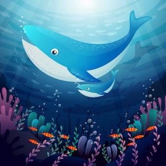 Fondo submarino con caricaturas de animales acuáticos.