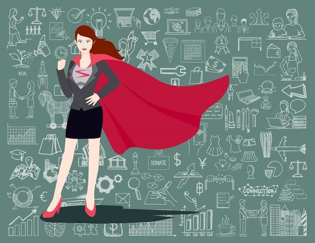 Fondo de súper mujer de negocios