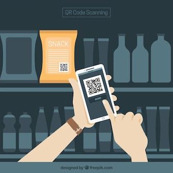 Fondo de supermercado y móvil con código qr