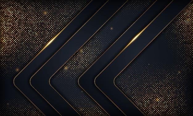 Fondo de superposición abstracta de lujo negro con línea de oro. textura con elemento de brillos dorados.