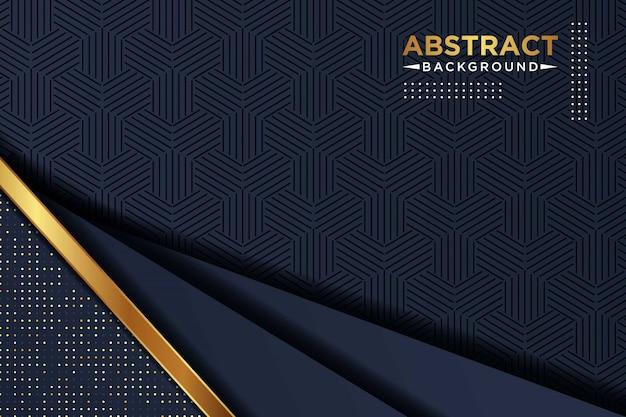 Fondo de superposición azul marino oscuro con combinación de patrón de rectángulo de puntos dorados y blancos brillantes lujo moderno