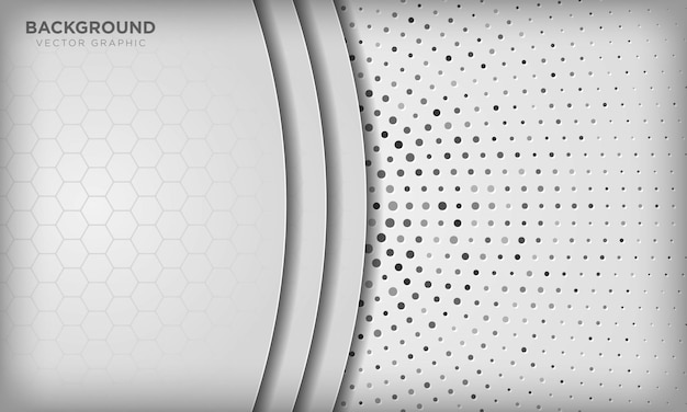 Fondo de superposición de dimensión blanca abstracta con patrón hexagonal en semitono radial plata.