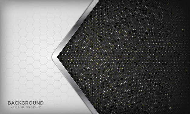 Fondo de superposición de lujo blanco y negro con línea plateada realista y hexágono en semitono radial dorado brillante.