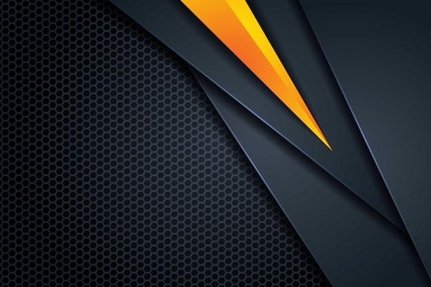 Fondo de superposición oscura abstracta 3d forma de triángulo amarillo, con patrón de malla hexagonal fondo de tecnología futurista moderno