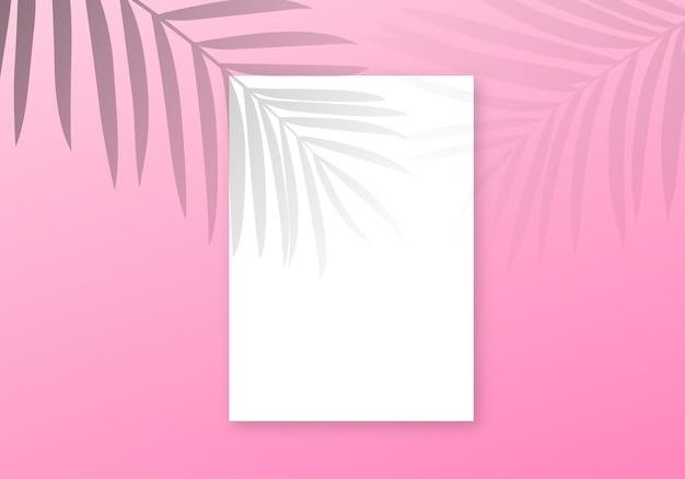 Fondo de superposición de sombra de palma. hojas de palma transparentes verano