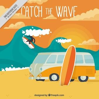 Fondo de surf con caravana retro