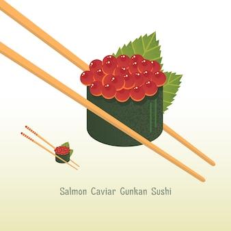 Fondo con sushi de caviar de salmón