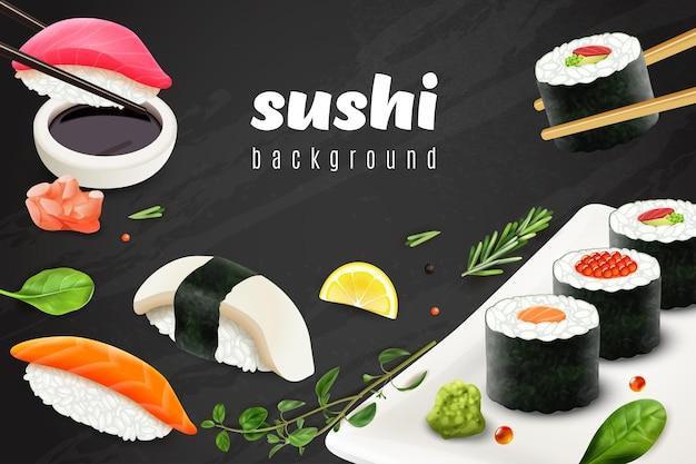 Fondo de sushi realista con ilustración de símbolos de restaurante de comida japonesa