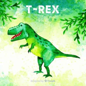Fondo de t-rex en acuarela