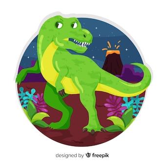 Fondo de t-rex en diseño plano