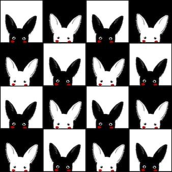 Fondo de tablero de ajedrez de conejo blanco negro