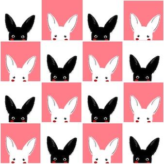 Fondo de tablero de ajedrez de conejo rosa blanco negro