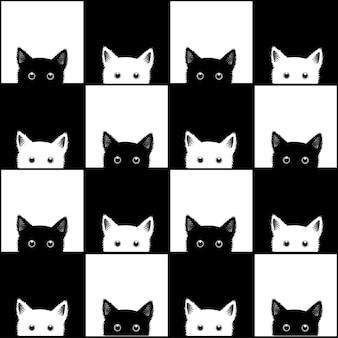 Fondo de tablero de ajedrez de gato blanco negro