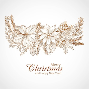 Fondo de tarjeta de adorno de invierno de feliz navidad dibujado a mano
