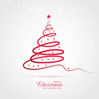 Fondo de tarjeta de árbol de navidad de línea mínima