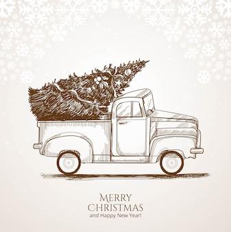 Fondo de tarjeta de boceto navideño dibujado a mano
