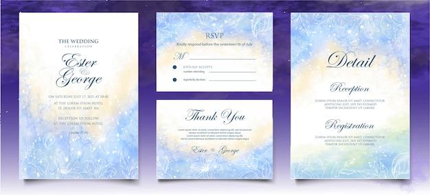 Fondo de tarjeta de boda hermosa acuarela con salpicaduras y líneas florales