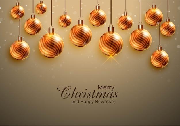 Fondo de tarjeta de bolas brillantes colgantes de navidad hermosa