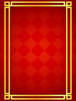 Fondo de tarjeta chino en blanco con marcos de línea dorada