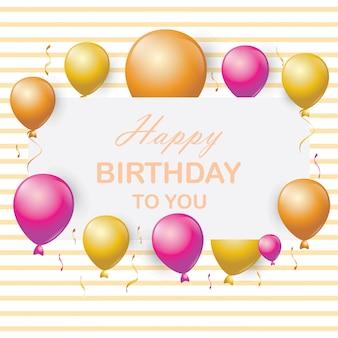 Fondo de tarjeta de cumpleaños con globos