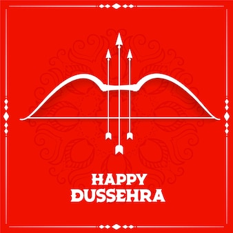 Fondo de tarjeta de deseos de festival de dussehra feliz rojo