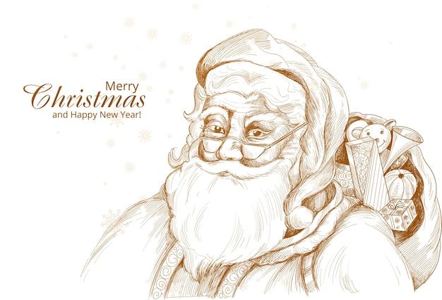 Fondo de tarjeta de dibujo de santa claus alegre dibujado a mano