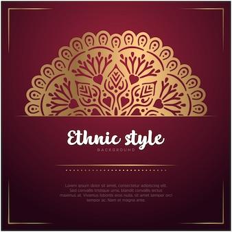 Fondo de tarjeta de estilo étnico con plantilla de mandala y texto, color rojo y dorado