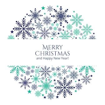 Fondo de tarjeta de felicitación de copos de nieve de navidad
