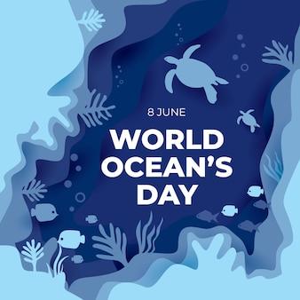Fondo de tarjeta de felicitación del día mundial de los océanos con estilo plano