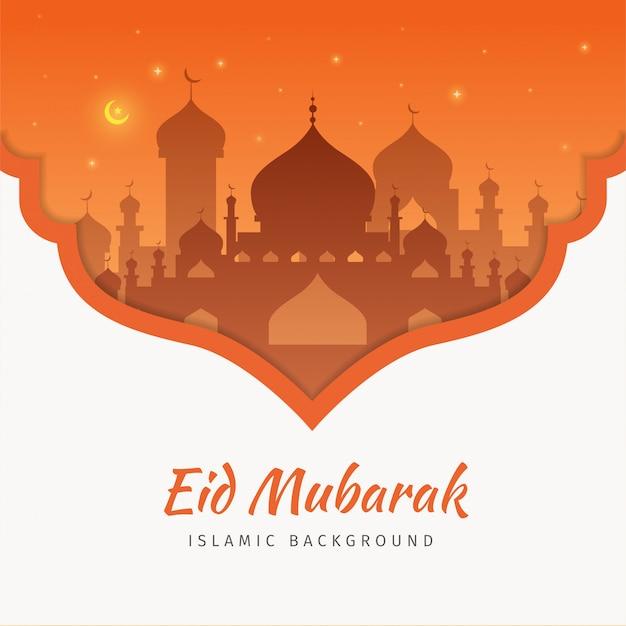 Fondo de la tarjeta de felicitación eid mubarak con la mezquita.