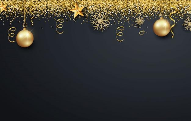 Fondo de tarjeta de felicitación para feliz año nuevo o navidad. bolas de navidad de oro metálico, decoración, confeti brillante, brillante