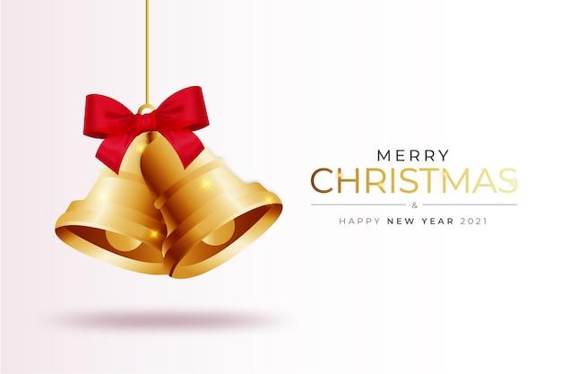 Fondo de tarjeta de feliz navidad moderno con plantilla de composición de campana de navidad realista