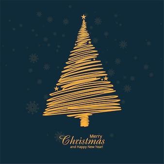 Fondo de tarjeta de festival de árbol de navidad de contorno dorado