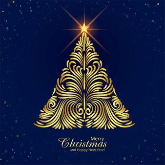 Fondo de tarjeta de festival de árbol de navidad feliz