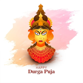 Fondo de tarjeta de festival indio feliz durga pooja