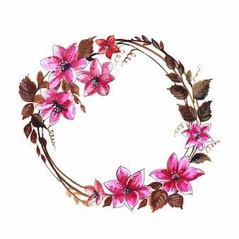 Fondo de tarjeta de marco floral circular hermoso