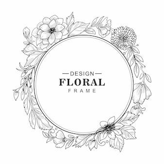 Fondo de tarjeta de marco floral decorativo de boda