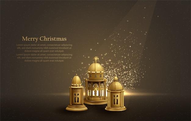 Fondo de tarjeta de navidad con tres linternas doradas de la iglesia