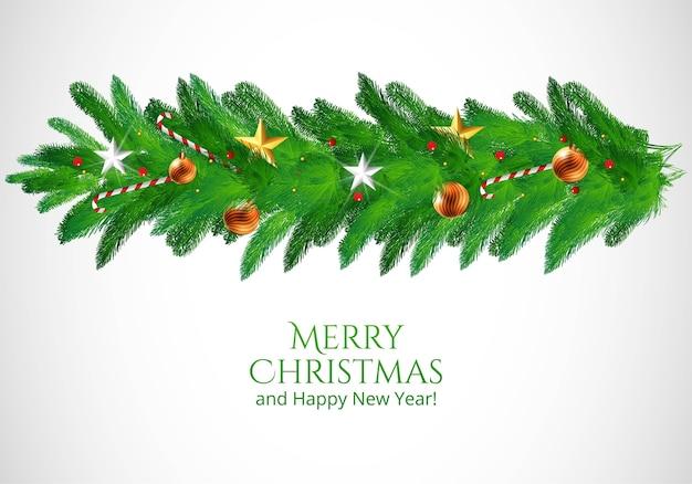 Fondo de tarjeta navideña con guirnalda de navidad decorada