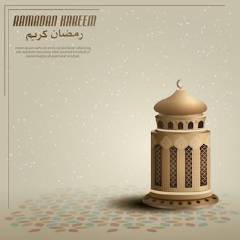 Fondo de tarjeta de saludos islámicos con linterna de oro