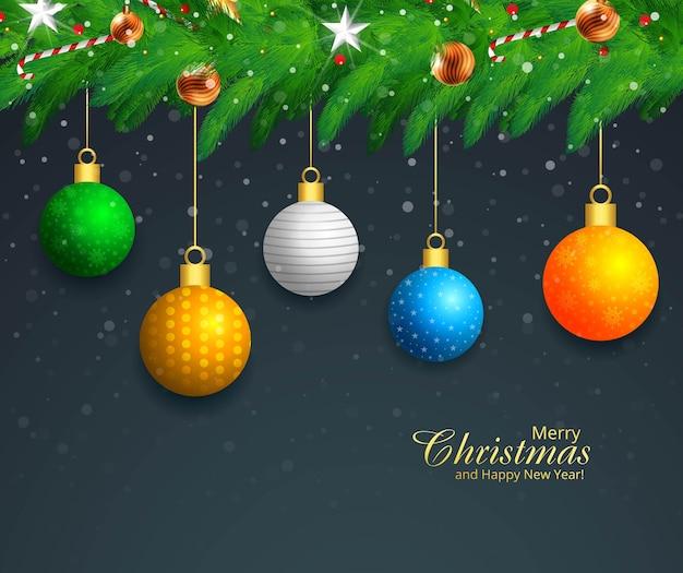Fondo de tarjeta de vacaciones de guirnalda de navidad de bolas decorativas